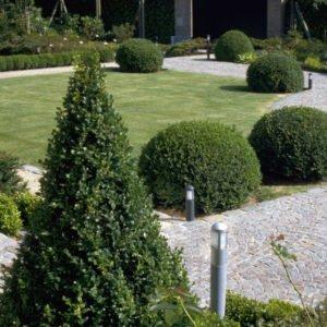 tuinverlichting met Henegouwse steen van 64 cm hoogte in een stijlvolle tuin met buxus
