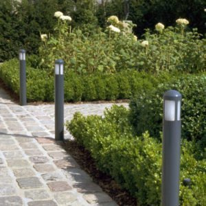 garden light of 62 cm height dark gray along garden path with buxus and flowers