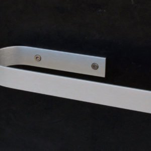 Kitchen roll holder design with screws in anodised aluminum with a open side