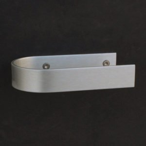 Toilet roll holder design with screws in aluminium with screws with the open side