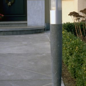 garden lamp stone and aluminum on garden path home