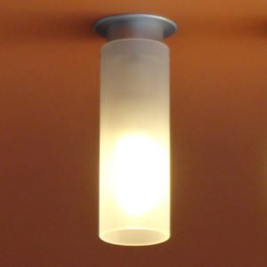 ceiling lamp in aluminum with one light point in opal glass, surface-mounted